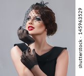beautiful young woman retro... | Shutterstock . vector #145963529