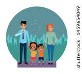 family young parents with... | Shutterstock .eps vector #1459654049