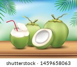 coconut water drink with green...   Shutterstock .eps vector #1459658063