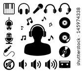 music icon set. illustration...
