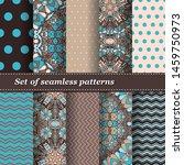 set of trendy seamless floral... | Shutterstock .eps vector #1459750973