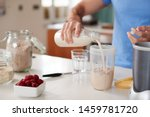 close up of man making protein... | Shutterstock . vector #1459781720