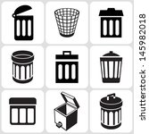 trash can icons set | Shutterstock .eps vector #145982018
