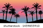 sunset in the sea  silhouettes... | Shutterstock .eps vector #1459855910