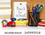 School Stationery On White...