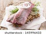 Stock photo pickled herring fillet 145996433
