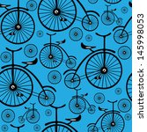seamless pattern retro bicycle  | Shutterstock . vector #145998053