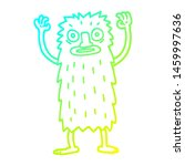 Stock photo cold gradient line drawing of a cartoon bigfoot creature 1459997636