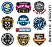set of car racing emblems and... | Shutterstock . vector #146000669