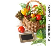 Fresh vegetables and chalk blackboard for text on a white background. - stock photo