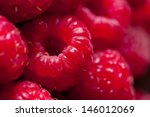 Fresh Sweet Raspberries Close...