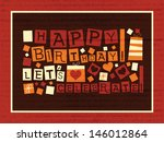 vintage birthday card   vector... | Shutterstock .eps vector #146012864