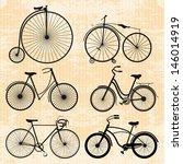 Set Of Bicycles In Vintage Style
