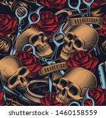 seamless pattern with skulls ... | Shutterstock .eps vector #1460158559