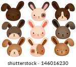 collection of cute rabbit  ... | Shutterstock .eps vector #146016230