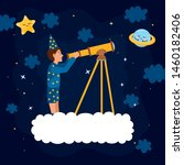 space illustration with dreamer ... | Shutterstock .eps vector #1460182406