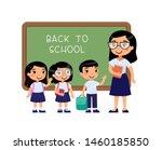 teacher greeting pupils in...   Shutterstock .eps vector #1460185850