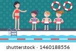 swimming class coach woman...   Shutterstock .eps vector #1460188556