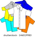 colorful shirts with improper... | Shutterstock .eps vector #146019983