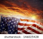 American Flag In Front Of...