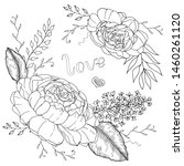 hand drawn peonies with leaves... | Shutterstock .eps vector #1460261120