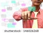 Asian man touch button color - stock photo