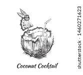 coconut drink. hand drawn... | Shutterstock .eps vector #1460271623