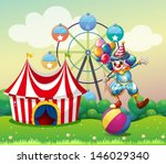 amusement,balancing,ball,balloons,boy,bushes,carnival,cars,circus,clown,colorful,comedian,costume,drawing,entertainer