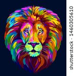 Lion. Abstract  Multi Colored...