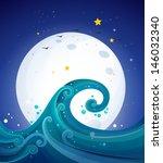 Illustration Of The Big Waves...
