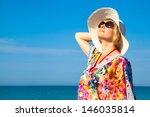 beautiful girl relaxing outdoor ... | Shutterstock . vector #146035814