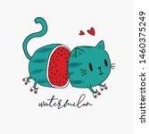 cute cat loves watermelon ... | Shutterstock .eps vector #1460375249