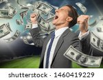 Small photo of Man who rejoices at the stadium for winning a rich abet