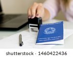 """Small photo of A portfolio of Brazilian workers (Translation """"Work Permit, Ministry of Labor and Social Security Brazil CTPS""""), female hand stamping a work contract background"""