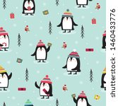 seamless pattern with penguin ... | Shutterstock .eps vector #1460433776