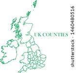 uk counties green line map... | Shutterstock .eps vector #1460480516