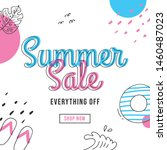 summer sale banner design with... | Shutterstock .eps vector #1460487023