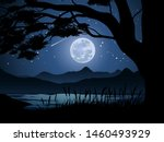 night time with full moon view... | Shutterstock .eps vector #1460493929