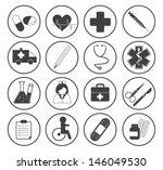 basic medical icons vector... | Shutterstock .eps vector #146049530