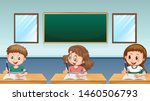 three pupils writing in... | Shutterstock .eps vector #1460506793