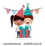 couple of children in birthday... | Shutterstock .eps vector #1460511413