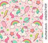 cute unicorn  rainbow  thunder  ... | Shutterstock .eps vector #1460567459