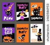 set of cartoon style halloween... | Shutterstock .eps vector #1460586953