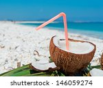 Plastic Straw In A Coconut By...