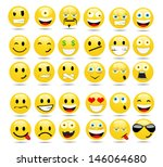vector set of glossy emoticons | Shutterstock .eps vector #146064680