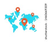location pin on simple world... | Shutterstock .eps vector #1460669309