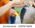 Small photo of Closeup shot of Shaved hair for ordained Buddhist man. Ordain into monkhood, Thailand