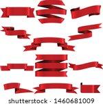 red ribbon set inisolated white ... | Shutterstock .eps vector #1460681009