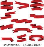 red ribbon set inisolated white ... | Shutterstock .eps vector #1460681036