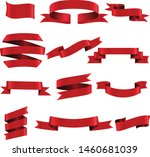 red ribbon set inisolated white ... | Shutterstock .eps vector #1460681039